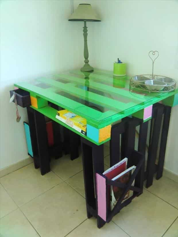 home made pallet desk colorful