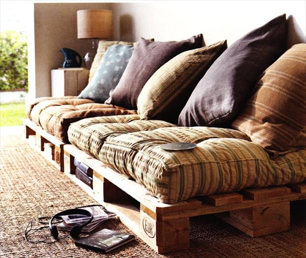 indoor design couch made from reproduced pallets