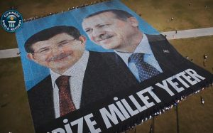 The 4,709 square metre poster prepared by the AKP as a 'surprise' to the two leaders