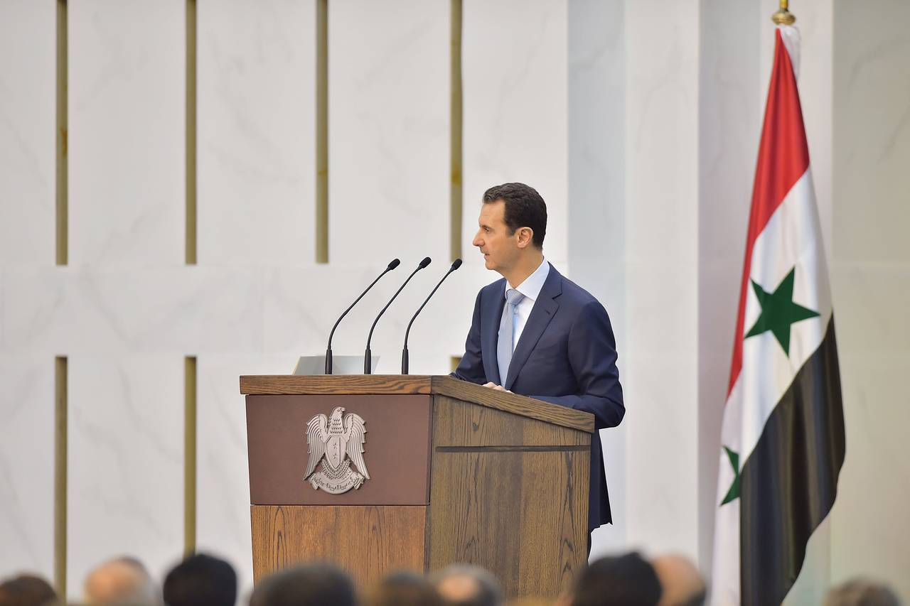 Syrian President Bashar al-Assad speaks in Damascus in this handout released by Syria's national news agency on Sunday. PHOTO: REUTERS