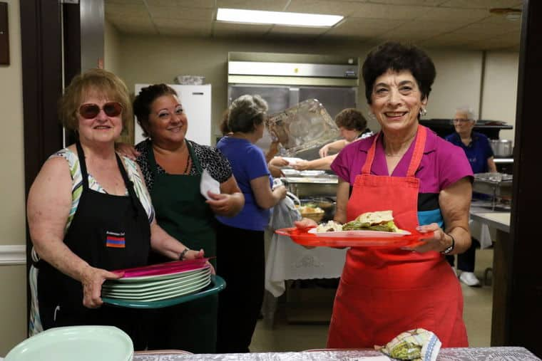 Patricia Butero, Dian Erikian and Betty Bagdesgarian keep the Armenian food coming from the church kitchen.