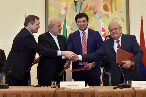 From left to right: Chief executive of Russia's power distribution grids company, Rosseti, Oleg Budargin; Iran's Energy Minister Hamid Chitchian; Georgia's Energy Minister Kakha Kaladze, and Armenia's Energy Minister Yervand Zakharyan seen after signing of memorandum in Yerevan on December 23, 2015. Photo: Armenian Energy Ministry