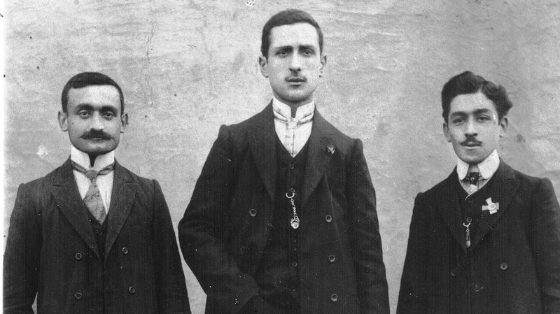 Dawn Anahid MacKeen's grandfather, Stepan Miskjian (left), is pictured with friends around 1910, just a few years before the Aremenian genocide.