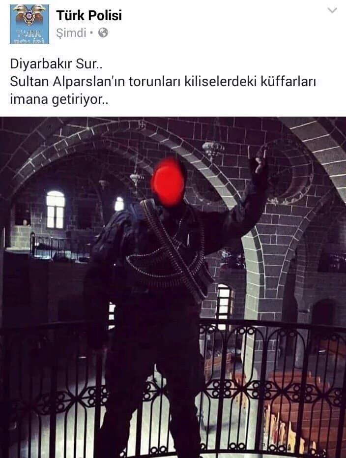 "Armenian Church in Tigranakert occupied by police. Account run by Turkish police: ""Bringing Kuffar (infidels) to reason"""