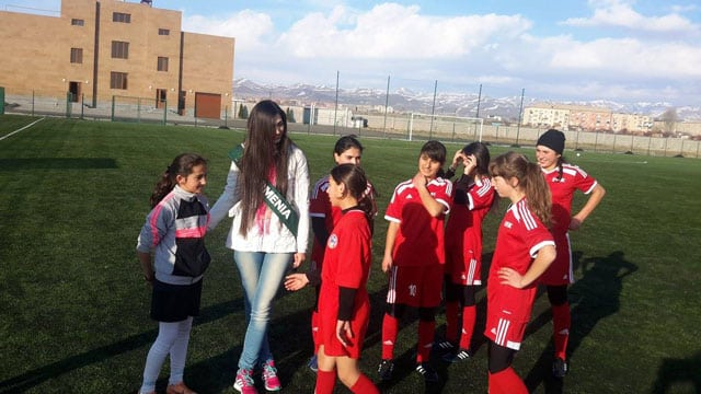 Miss Earth Armenia with Gyumri Tribune girls football club