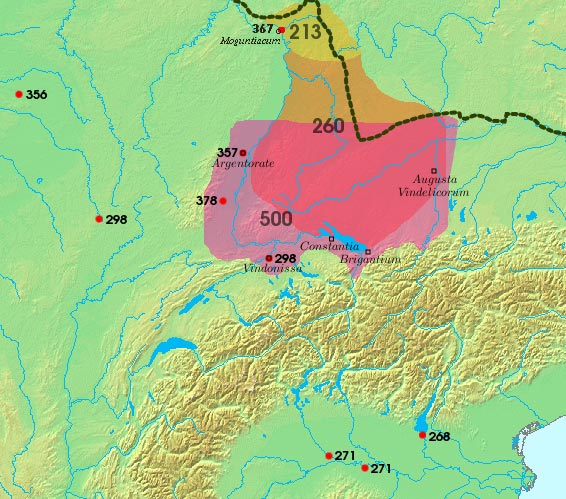 Area settled by the Alemanni, and sites of Roman-Alemannic battles, 3rd to 6th centuries