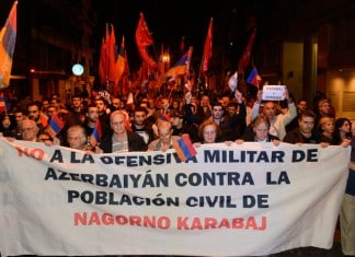 Armenian community rallies outside Azerbaijani Embassy in Argentina