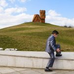 """Children from a local private school visit the Tatik-Papik monument, also known as """"We Are Our Mountains,"""" which represents the Armenian heritage of Nagorno-Karabakh in Stepanakert, Nagorno-Karabakh Republic. After years of bloody conflict with Azerbaijan for independence, the region's ethnic Armenian majority and Azerbaijan entered a cease-fire. The truce has since been shaken by violence many times, most recently on April 2."""