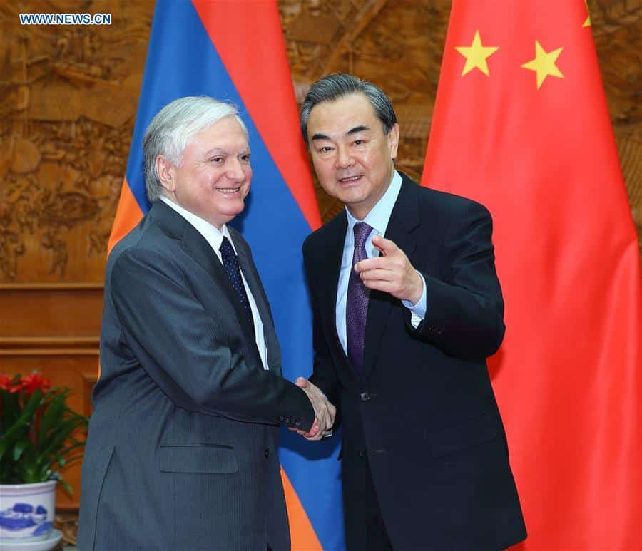 Chinese Foreign Minister Wang Yi (R) meets with Armenian Foreign Minister Edward Nalbandyan in Beijing