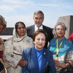 Dr. Leymah Gbowee, Syeda Ghulam Fatima, Dr. Shirin Ebadi, George Clooney, Hina Jilani and Marguerite Barankitse attend the laying of the flowers at the Genocide Memorial in Yerevan, Armenia.