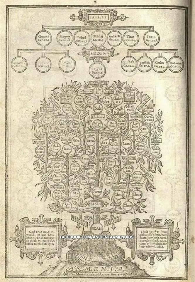 This is the 2nd page from the Holy Bible in 1630 showing Armenia as the origin of humanity.