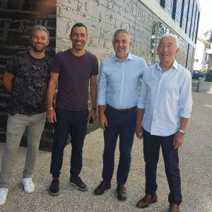 Brothers Micha, Youri and Dennis Djorkaeff in Front of Armenian Memorial Center with their father Jean